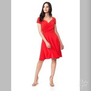 Leota V-Neck Fit N Flare Red Dress- ChicEwe